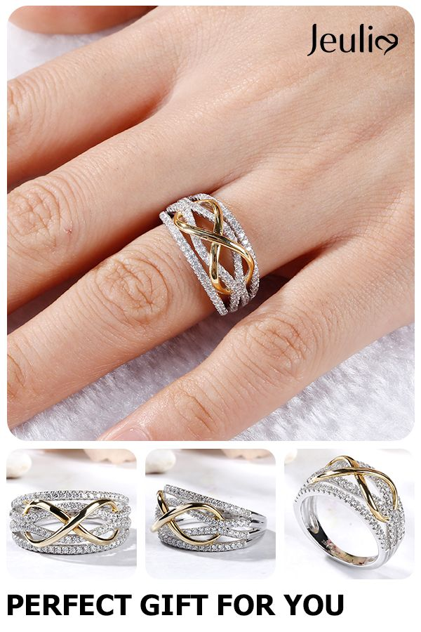 Two Tone Wave Ring Ring Romantic Jewelry Wedding Beauty Gift Sterling Silver