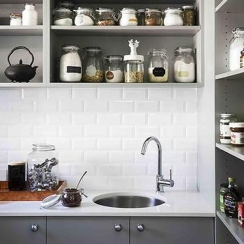 Gray Spice Shelves with Gray Flat Front Cabinets