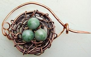 How to Make a Bird's Nest Pin – by Zoraida - wire and bead bird nest jewelry