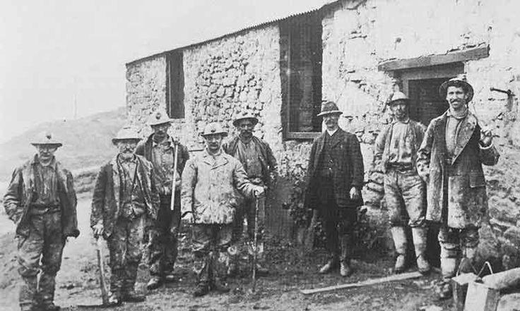 Tin miners outside the Dry, Vitifer mine 1912 Dartmoor