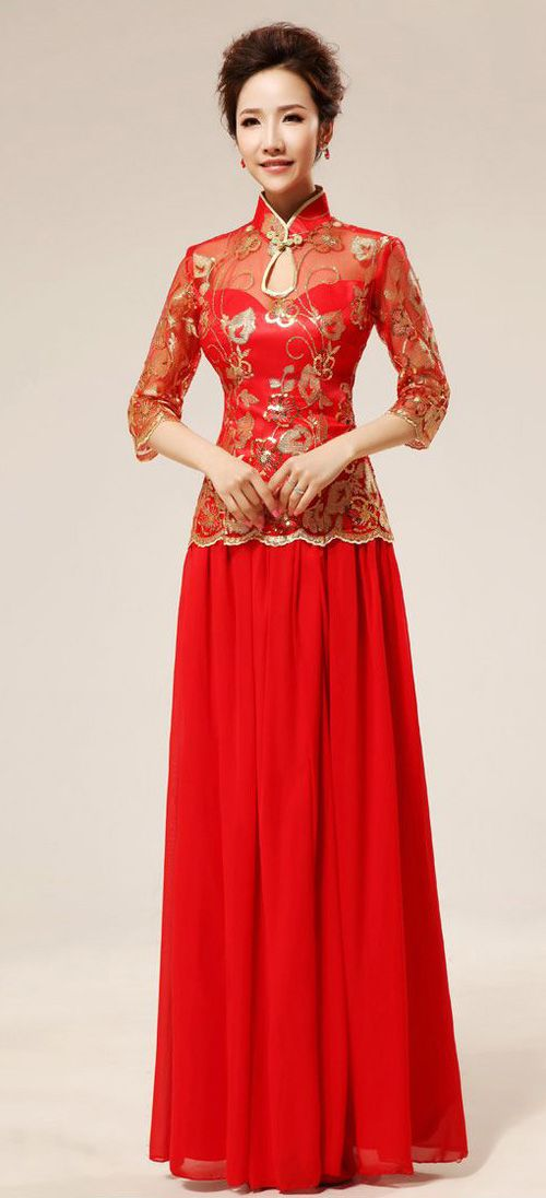 1000 images about oriental bridal dress on pinterest for Chinese style wedding dress