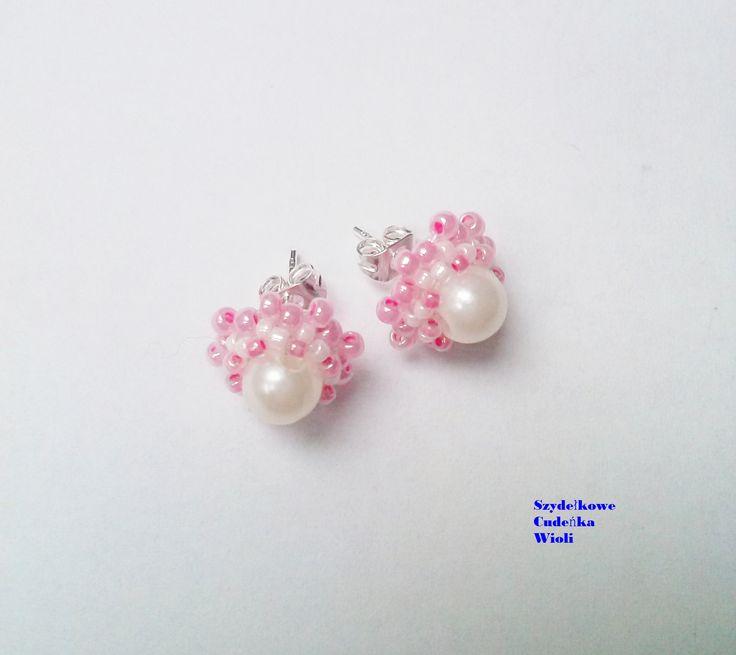 kolczyki sztyfty, koraliki Toho i male perełki