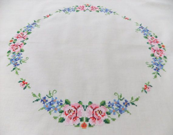 Vintage embroidered tablecloth cream