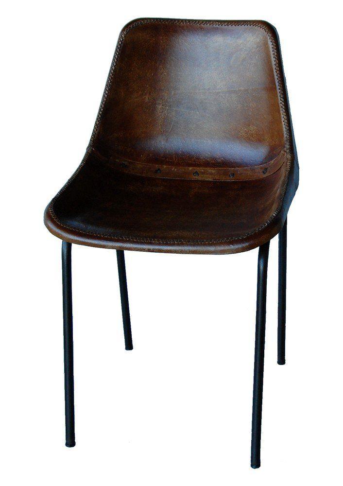 Köp - 1695 kr! Sundbyberg stol - Metall/läder. Häftig stol med metallunderrede i antikbrunt och sits i slitstarkt