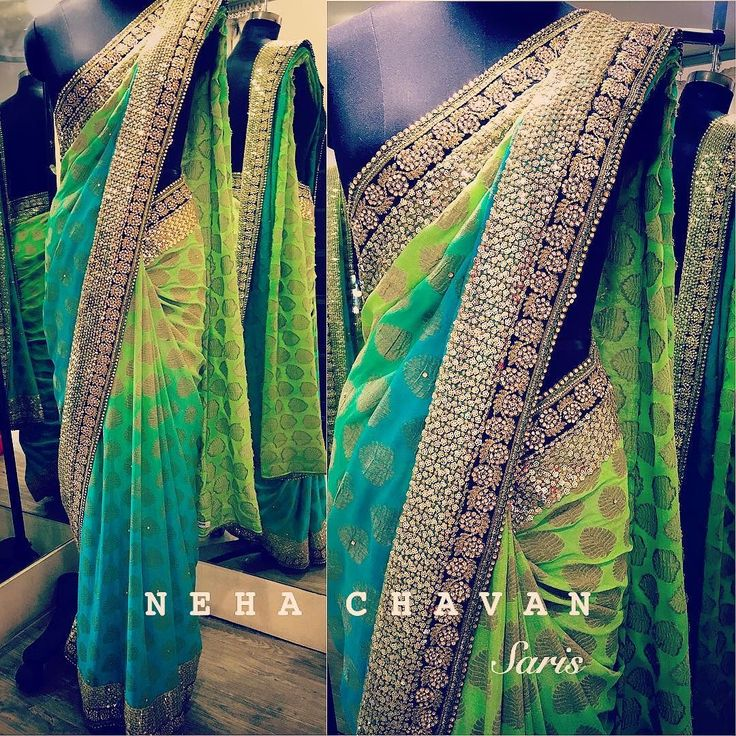 Go traditional with a modern touch! This beautiful georgette zari saree shaded in sea blue and leaf green with all round black embroidered border and gold sequins border. For details and purchase email us at fashion@nehachavan.com or drop in your email id in the comment below and we will get back to you soon. We deliver worldwide. #NC #NehaChavan #fashion #customise #madetoorder #designerwear #designersaris #designstudio #tradionalwear #saris #tagsforlikes