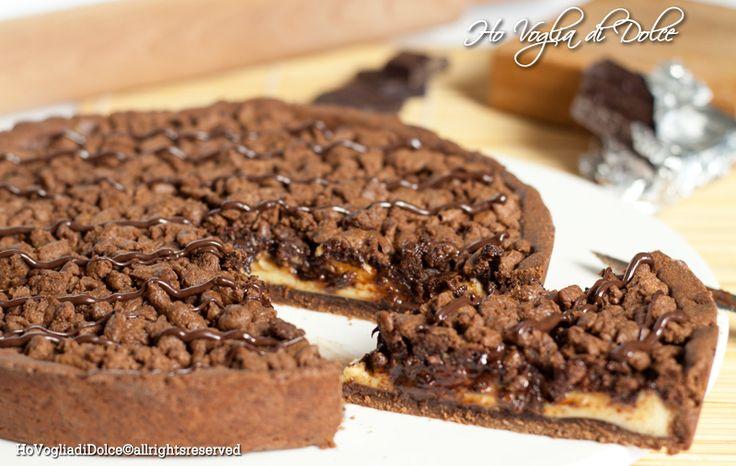 Torta+sbriciolata+al+cioccolato+e+crema+pasticcera