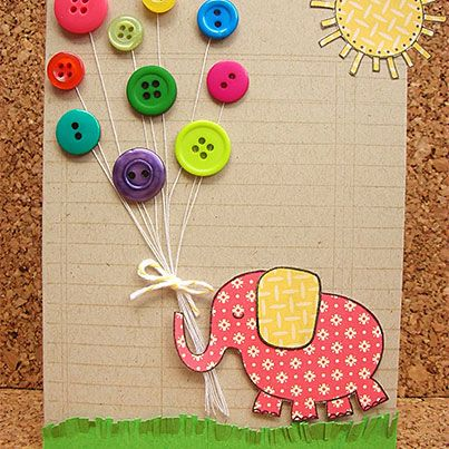 Button Birthday Card - Make a series of these as math mats with a number on each elephant. Child place the correct number of button balloons above each elephant.