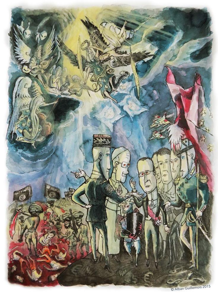 """©Alban Guillemois """"le Martyre des chrétiens d'Orient"""" d'après Le Greco. #dessin #actualité #albanguillemois #daprèslegréco #artiste #illustration #chrétien #orient #guerre #syrie #françois #hollande #france #massacre #génocide #catholique #republique #françoishollande #président #mondialisation #legreco #christianophobie #rafale #histoire #religion #décapitation #terrorisme #bombe #dollar #démocratie #daech #bombardement #pape #ange #papefrançois #arméefrançaise #ciel #sang #mondialisation"""