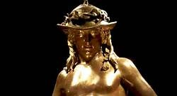 1475 david donatello - David (Donatello, Italian Renaissance, 1475 CE)     In Medici Palace     - story of David and Goliath (Goliath at feet of David) -- reflected Medici idea that they're favored by God   - first nude since antiquity   - contrapposto   - sculpture in the round   - classicalBing Images