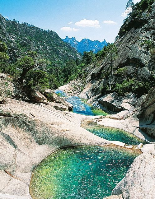 I first saw this stream in a watercolor, and its winding down into a mysterious destination ticked my imagination.  What lies beyond? The variation in the water's color is also a test of observation & skill for the watercolorist. This is another view Napoleon missed, as he was imprisoned on nearby Elba.   Restonica Valley, Corsica – France