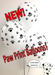 Paw print balloons! Perfect for puppy themed parties,wildlife parties, Dog rescue fundraisers, and your favorite canine lover!