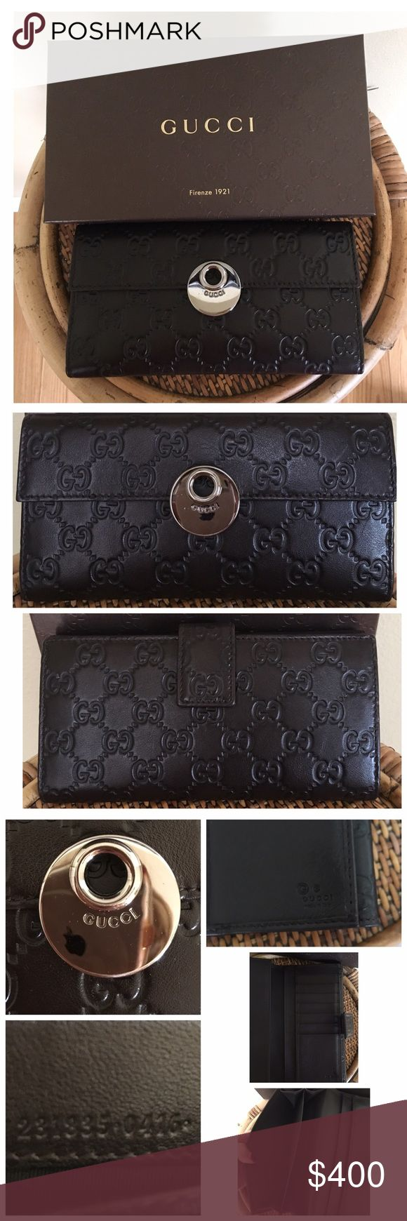 """GUCCI GUCCISSIMA WALLET Very gently used condition.  Very minor surface scratches to the hardware.  Very clean.  One interior surface scratch on the bill compartment.  ALL MEASUREMENTS ARE APPROXIMATE- 7.5"""" L X 4.0"""" H. Snap coin compartment. 7 credit card slots. 2 Bill compartments.  All stitching is intact.  Comes with box only.  Serial #231835•0416•🚫TRADES/LOWBALL Gucci Bags Wallets"""