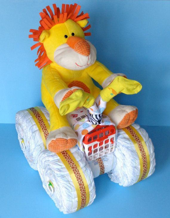 Lion 4Wheeler  Diaper Cake  Diaper Quad by PamperedBabyCreation, $85.00
