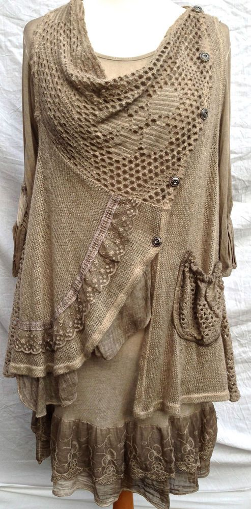 Italian Layering Lagenlook Quirky Layering 2 piece Dress Tunic Scarf OSFA Taupe #MadeInItaly #BohoHippie