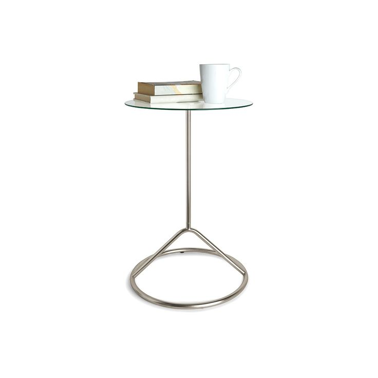 Loop Side Table   Nickel. Tempered Glass Table TopGlass ...