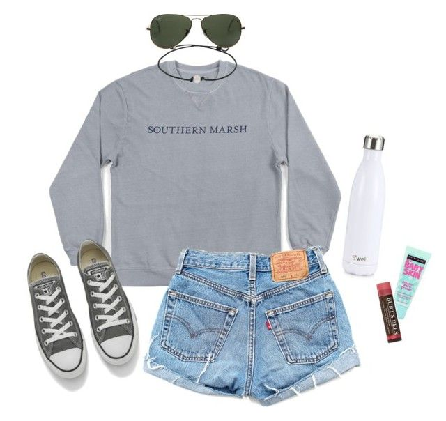 """Southern Marsh"" by yodiicat ❤ liked on Polyvore featuring Levi's, Converse, S'well, Maybelline, Burt's Bees and Ray-Ban"