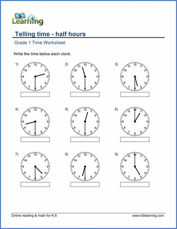 grade 1 telling time worksheet on half hours 1st grade pinterest telling time math and. Black Bedroom Furniture Sets. Home Design Ideas