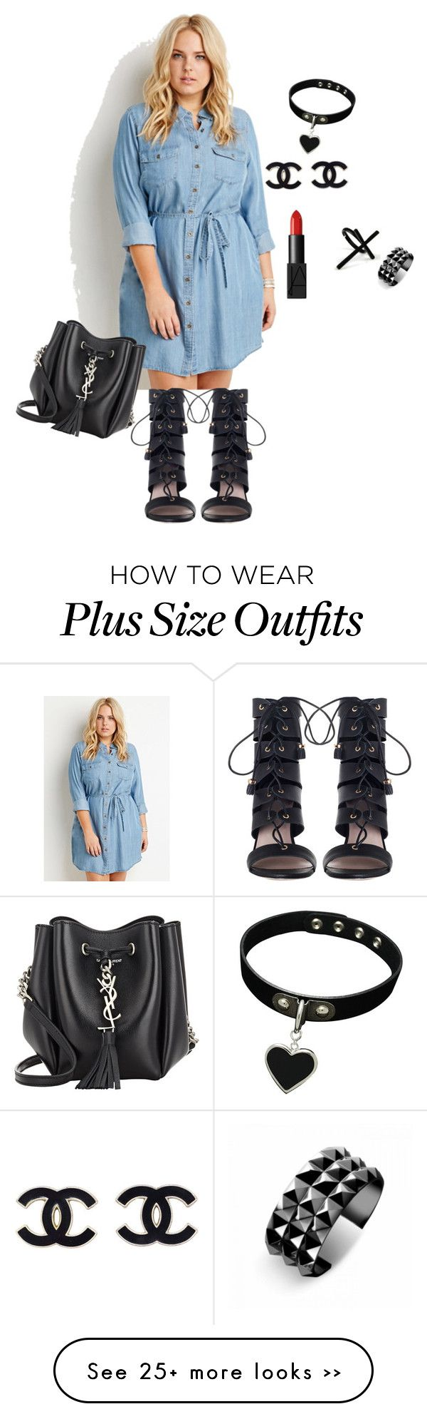 """plus size rough edges"" by kristie-payne on Polyvore featuring mode, Forever 21, Yves Saint Laurent, Zimmermann, NARS Cosmetics, Emi Jewellery et Waterford"