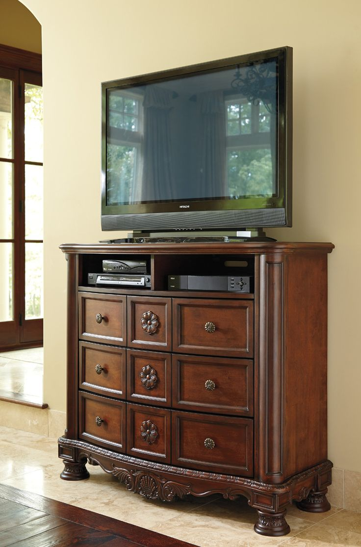 Description   Dimensions   More Info Ashley Furniture North Shore Media  Chest A Rich Traditional Design And Exquisite Details Come Together To  Create The ...