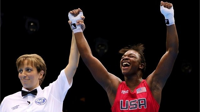 Claressa Shields of the USA wins gold  Referee Kheira Sidi Yakoub announces Claressa Shields of the United States winner over Nadezda Torlopova of Russia during the women's Middle (75kg) Boxing final bout on Day 13.