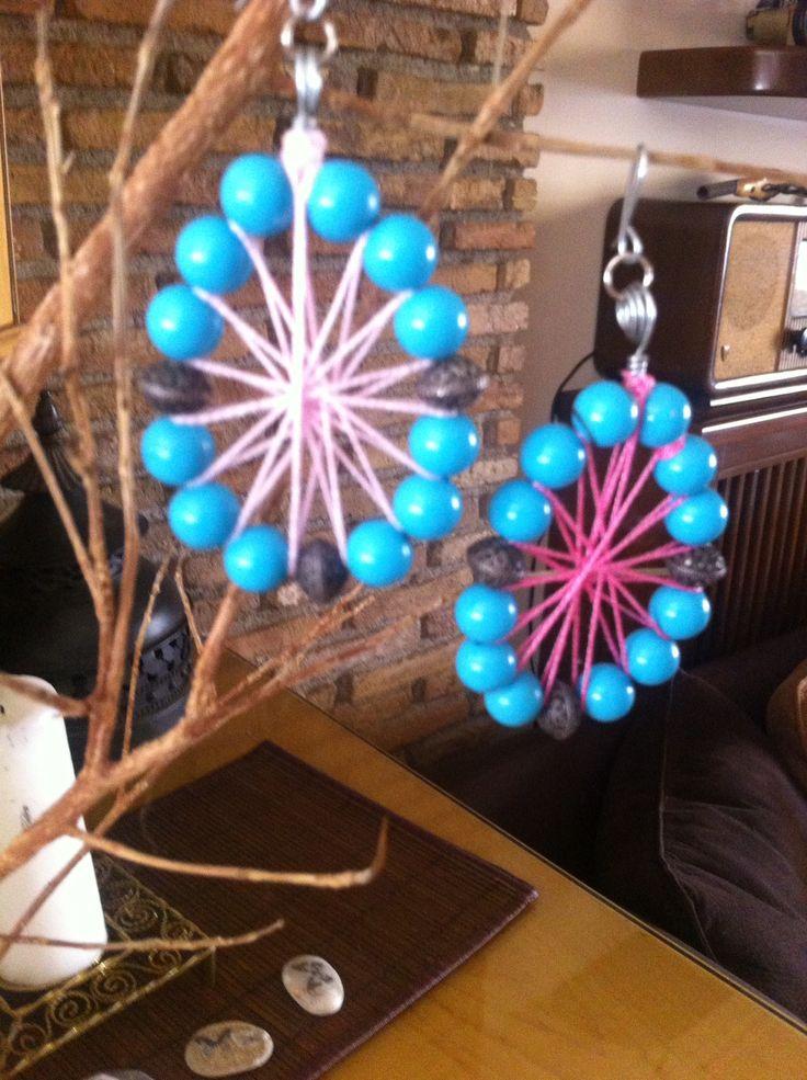 Σκουλαρίκια με τιρκουάζ χάντρες διακοσμημένο με ροζ νημα