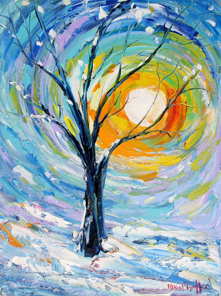 Original Oil Painting CHRISTMAS SNOW Winter LANDSCAPE Palette Knife Easy Landscape
