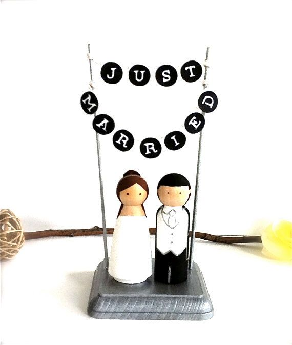 Just married Bunting Sign WEDDING CAKE TOPPER  with Wood Stand Custom Bride and Groom Cake Toppers Wedding Cake Toppers Just Married Banner on Etsy, $88.00