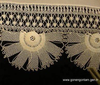 needlework oya (igni oya) on the edge of a scarf...Turkey