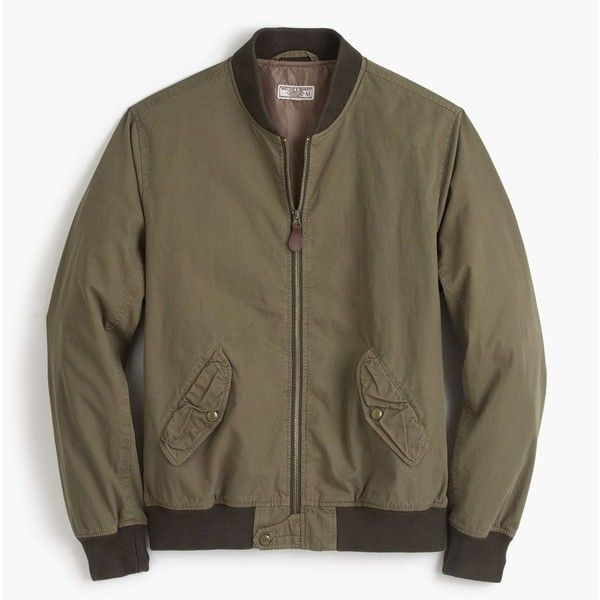 J.Crew Wallace & Barnes garment-dyed cotton MA-1 bomber jacket (460 BRL) ❤ liked on Polyvore featuring men's fashion, men's clothing, men's outerwear, men's jackets, mens bomber jacket, mens lightweight jacket, mens fur lined bomber jacket, mens cotton bomber jacket and mens zipper jacket