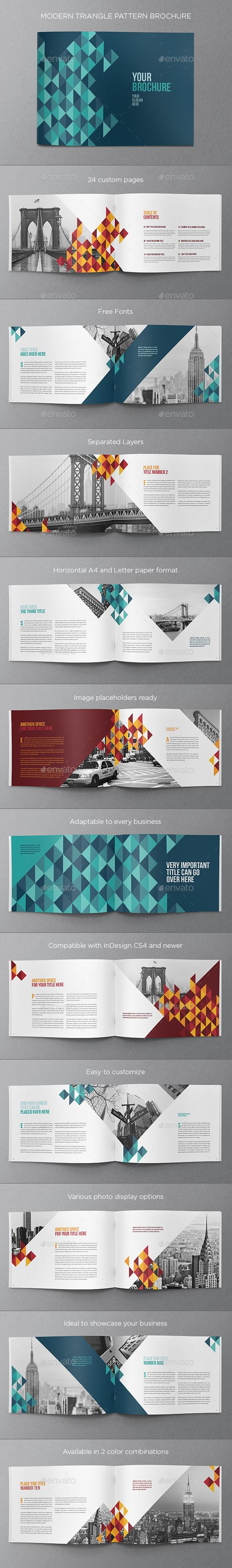Colorful Triangle Pattern Brochure - Brochures Print Templates - modern, easy to customise brochure design.