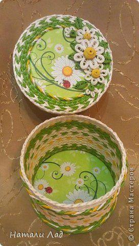 Поделка изделие Плетение Коробочки с цветочками Трубочки бумажные фото 7