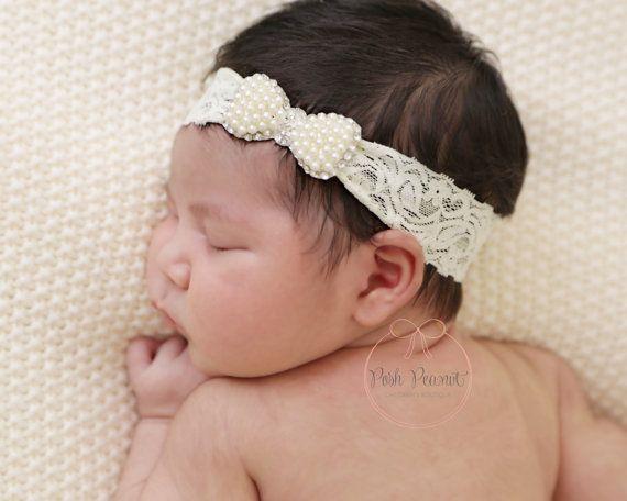 pearl baby headband baby headbands lace pearl by PoshPeanutKids