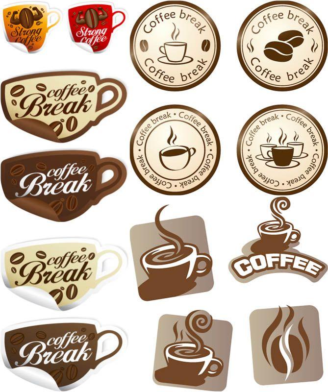 Coffee break labels vector