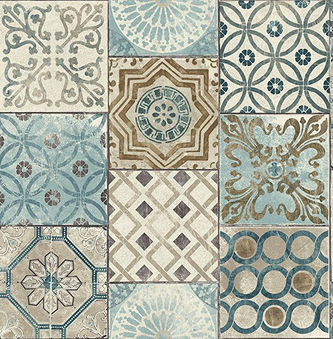 Nextwall Moroccan Style Peel And Stick Mosaic Tile Wallpaper Blue Copper Grey 35 Patchwork Tiles Moroccan Tile Tile Wallpaper