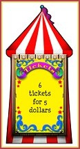 Ticket Booth Standee features the look of a circus big top with it's vibrant red and white stripes. Best of all, the free-standing ticket booth cardboard cutout can be personalized with up to 5 lines. Ticket Booth Standee at the entrance of your circus themed birthday party or use it to advertise your school's carnival ticket prices or attach to bedroom wall for a fun wall mural.