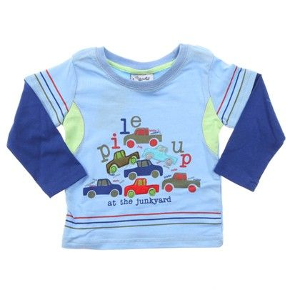 Light Blue Long Sleeve Tee With 'Pile Up At The Junkyard' Printed On Front.  Royal Blue Sleeves.-AJ6 $14.00 on Ozsale.com.au