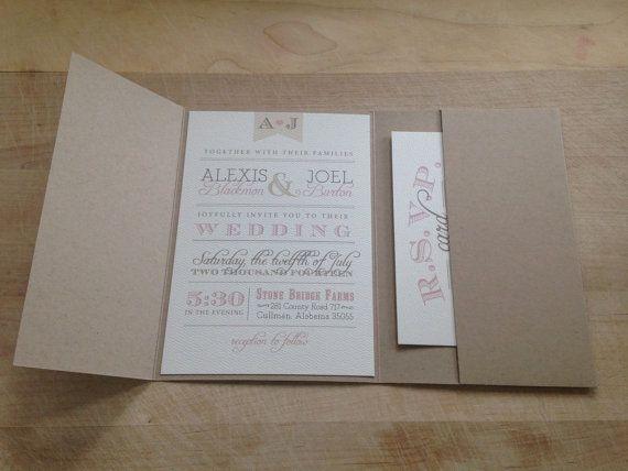 Vintage Pocketfold Wedding Invitation Suite // Rustic and Vintage // Simple and Elegant Invite // Burlap // Neutral Pink // Unique Invitation // Custom // Etsy