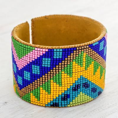 Beaded leather cuff bracelet, 'Happy Chichicastenango' - Guatemalan Multicolor Beaded Leather Cuff Bracelet