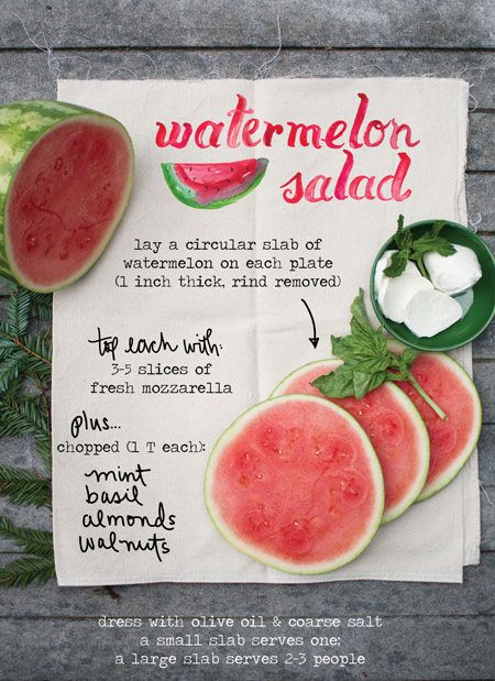 Watermelon Salad - looks delicious! And the recipe is styled so beautifully.