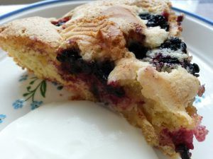 Plyndr et brombærkrat og tryl en lækker, sprød brombærtærte med marcipan. Nem og fedtfattig frugttærte, helt uden fedtstof. Smager SÅ lækkert med flødeskum til