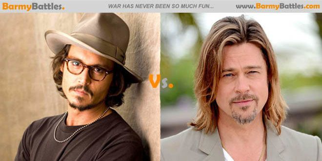 Johnny Depp Vs Brad Pitt. Right now, we have two of the most sought after men in Hollywood. #JohhnyDepp #BradPitt Vote Now! http://www.barmybattles.com/2013/12/09/johnny-depp-vs-brad-pitt/