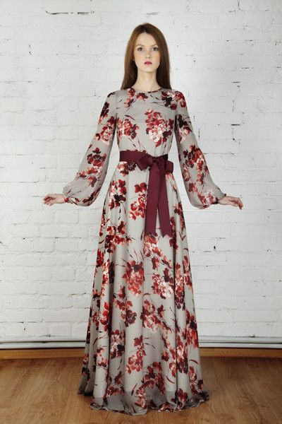 Floor-length, floral print maxi dress by Mode-sty. I actually love this. It's a but too much floral--I'd change the bodice to a solid color--but the bell sleeves, high-neckline, and bow-tie to cinch in the waist looks quite flattering. (Not so modest price at $215.)