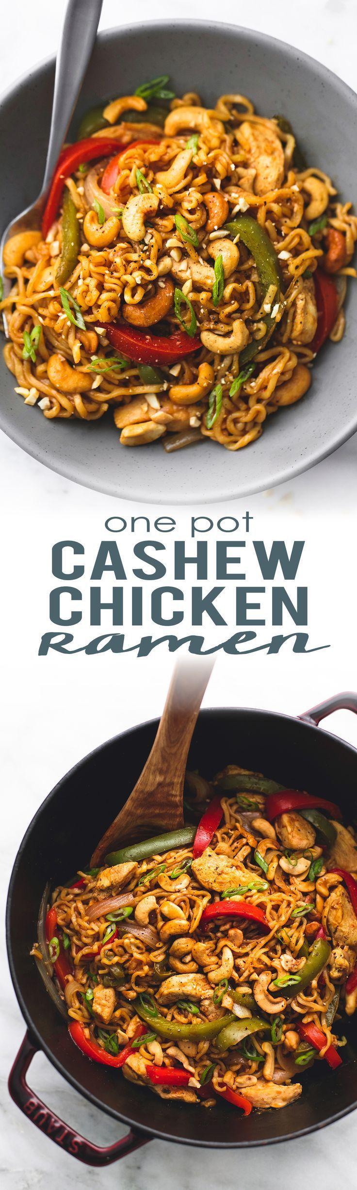 30 minute One Pot Cashew Chicken Ramen with veggies and a sweet n' savory Asian cashew stir fry sauce.