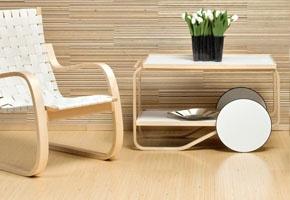 Always classy Aalto furniture accompanied with beautiful Saima hardwood floors (on the floor & on the wall) by Karelia- Upofloor