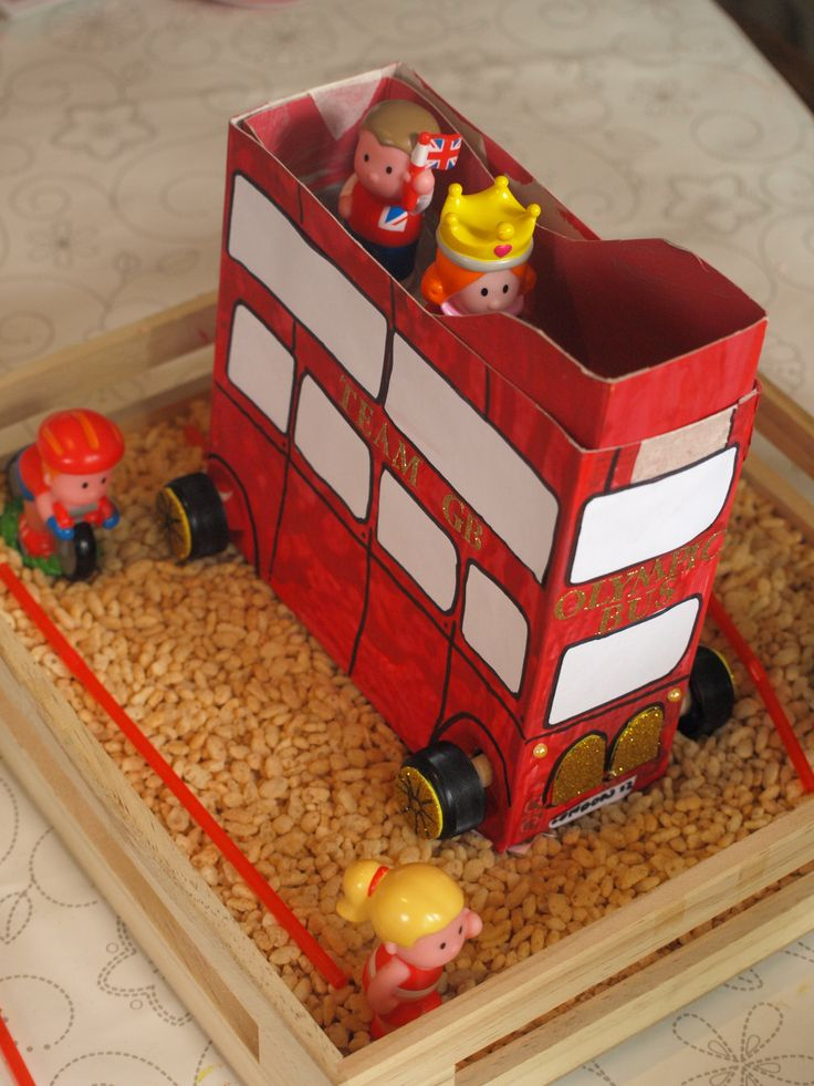 London bus made from a cardboard box - so your small world toys can get to the Olympics.