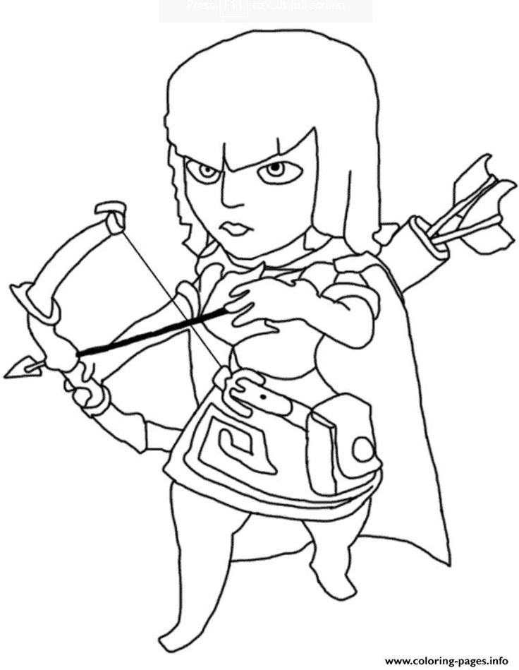 print archer clash of clans coloring pages  coloring