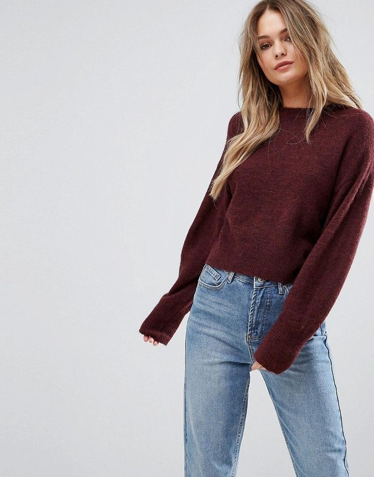 New Look Knitted Crop Sweater - Purple