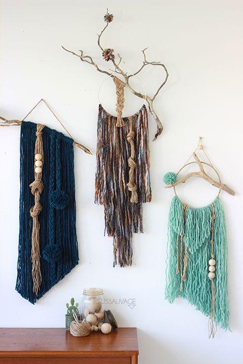 Decorar las paredes de casa con lana y ramas de árbol. Muy fácil.