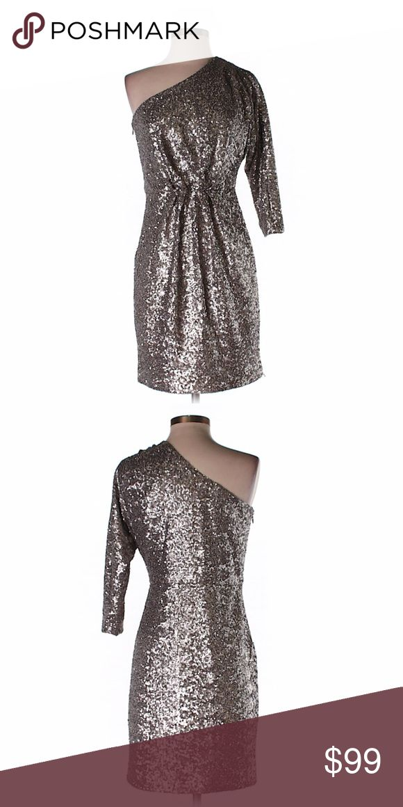 "Trina Turk one shoulder metallic cocktail dress Beautiful Trina Turk one shoulder metallic cocktail sequin dress! Perfect for the new year or that special occasion! Excellent condition!!Size 2.  Bust: 34"" Lenght: 34""  100% Polyester Trina Turk Dresses One Shoulder"