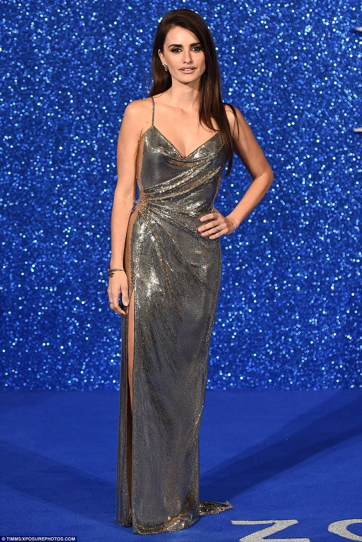 Hot metal: Penelope Cruz looked stunning in a metallic gown as she attended the UK premier...
